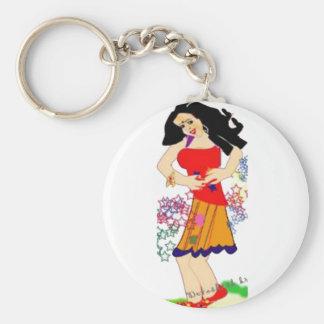 fille smilling porte-clé rond