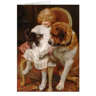 Fille, un St Bernard et un chaton, Carte De Vœux