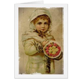 Fille victorienne avec des roses de Noël Carte De Vœux