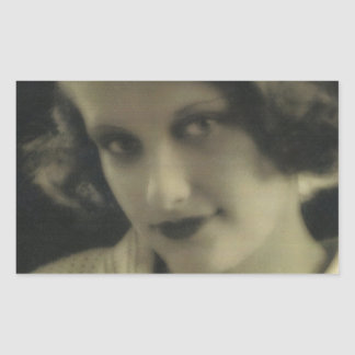 Fille vintage de charme de photo sticker rectangulaire