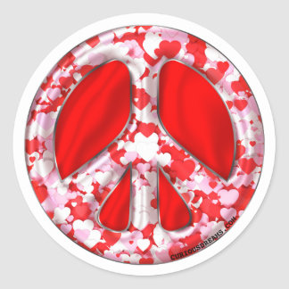 Filled with Love Peace Sign Classic Round Sticker