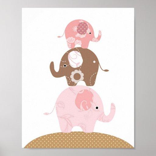 Filles d'art d'éléphant de crèche affiches