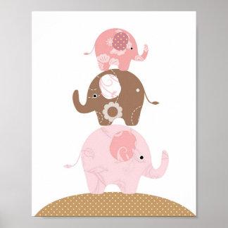 Filles d'art d'éléphant de crèche poster