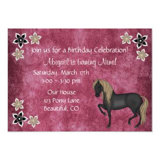 Filles de ~ d'invitation d'anniversaire de cheval carton d'invitation  12,7 cm x 17,78 cm