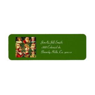 Filles démodées et Père Noël de Noël Étiquette D'adresse Retour