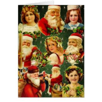 Filles démodées et Père Noël de Noël Carte De Vœux