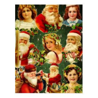 Filles démodées et Père Noël de Noël Cartes Postales
