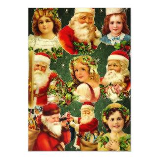 Filles démodées et Père Noël de Noël Carton D'invitation 12,7 Cm X 17,78 Cm