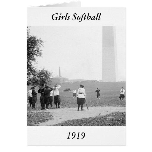 Filles Softball, 1919 Cartes De Vœux