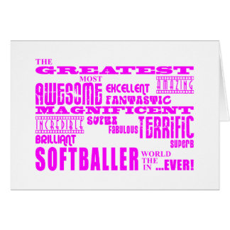 Filles Softballers : Plus grand Softballer rose Cartes De Vœux