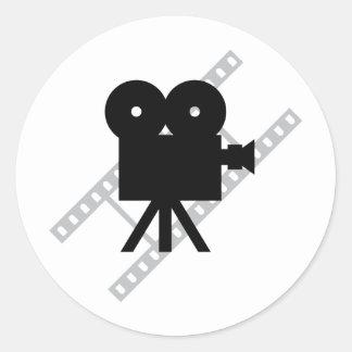 film camera icon classic round sticker