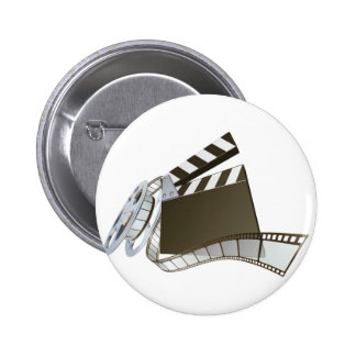 Film clapperboard and movie film reel pinback buttons