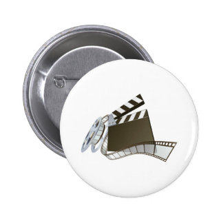 Film clapperboard and movie film reel pin