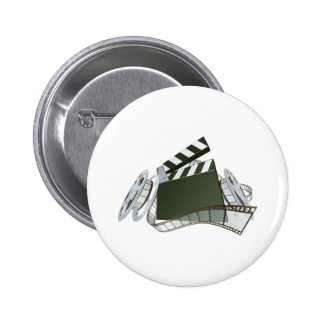 Film clapperboard and movie film reels pinback button