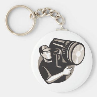 film crew with spotlight fresnel light keychain