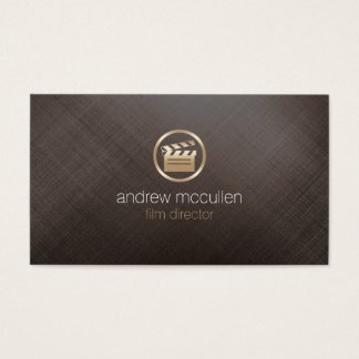 Film Director Clapperboard Icon Brushed Gold Metal Business Card