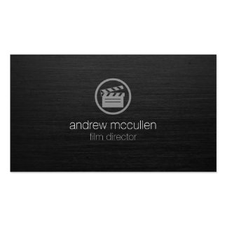 Film Director Clapperboard Icon Dark Brushed Metal Business Cards