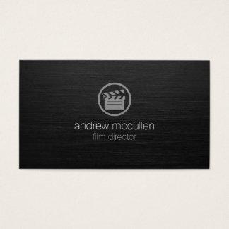 Film Director Clapperboard Icon Dark Brushed Metal Business Card