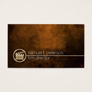 Film Director Gold Clapperboard Icon Imaging Business Card