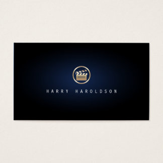 Film Director Gold Glapperboard Icon Blue Glow Business Card