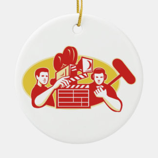 Film Director Movie Camera Clapper Soundman Ceramic Ornament