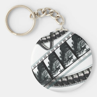 film frames of a black and white reel keychain