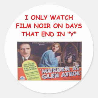 film noir round sticker