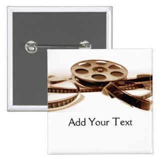 Film Reel in Sepia Tones Background 2 Inch Square Button
