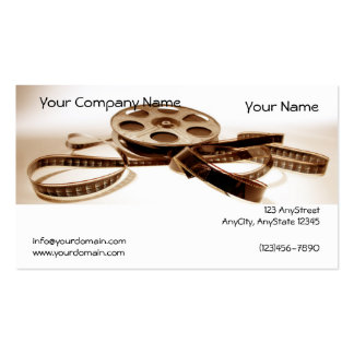 Film Reel in Sepia Tones Background Business Card