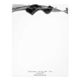 Film Strip on Black and White Ribbon Custom Letterhead