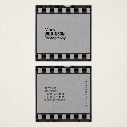 Film tape negative frame square business card