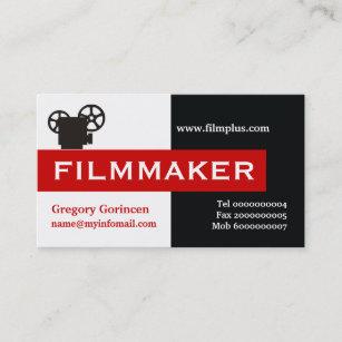 filmmaker black white red eye catching business card - Filmmaker Business Card
