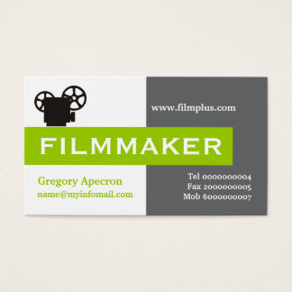 Filmmaker grey, white, lime green eye-catching business card