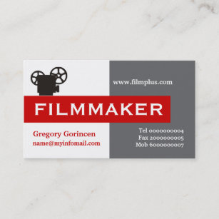 Filmmaker business cards profile cards zazzle ca filmmaker grey white red eye catching business card colourmoves