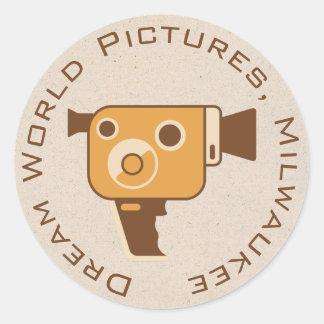 Filmmaker Movie Camera Personalized Round Stickers