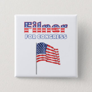 Filner for Congress Patriotic American Flag Design 2 Inch Square Button