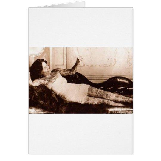 Fin de Siecle tattooed woman Greeting Card