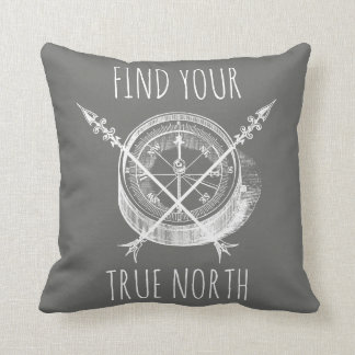 Fin Your True North Crossed Arrows And Compass Throw Pillow