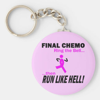 Final Chemo Run Like Hell - Breast Cancer Keychain