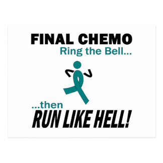 Final Chemo Run Like Hell - Ovarian Cancer Postcard