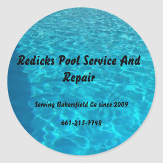 final_pool, Redicks Pool Service And Repair, Se... Round Sticker