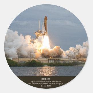 Final Space Shuttle launch STS-135 Atlantis Round Sticker