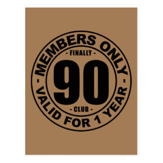 Finally 90 club postcard