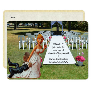 Finally Getting Wed Funny Interracial Couple 2 Card