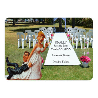 """Finally Save the Date Funny Couple Flat Card 5"""" X 7"""" Invitation Card"""