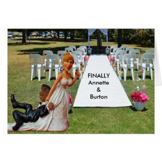 Finally Wedding Funny Interracial Couple Greeting Card
