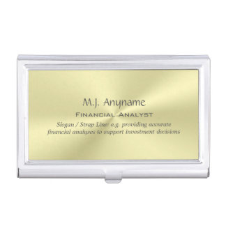 Financial Analyst luxury polished gold-effect Business Card Holder
