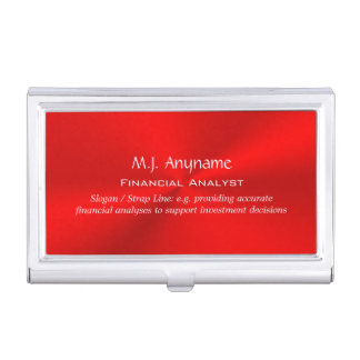 Financial Analyst luxury red chrome-effect Business Card Case