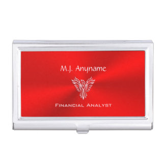 Financial Analyst luxury red chrome-effect Case For Business Cards