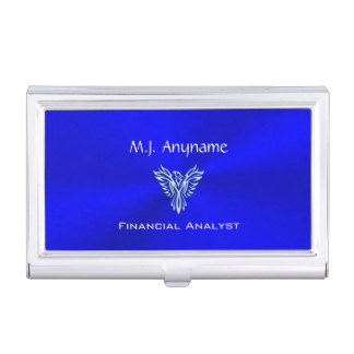 Financial Analyst luxury royal blue chrome-effect Business Card Case